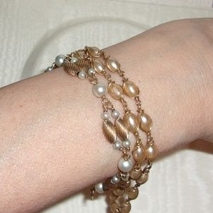 Jewelry - Vintage Faux Pearl & 14K Gold Bracelet/Child's Nec